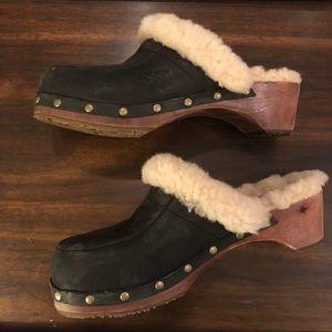 Ugg Black Leather Wooden Block Clogs